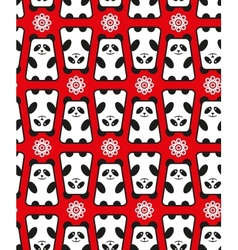 Seamless pattern with panda and flowers vector image vector image