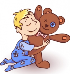 toddler and teddy vector image