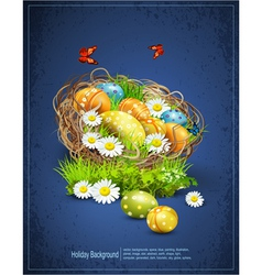 Easter background with eggs and nest vector
