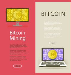 flat bitcoin mining posters set vector image