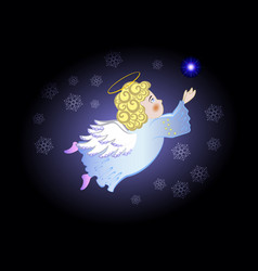 funny stylized decorative flying angel in the vector image