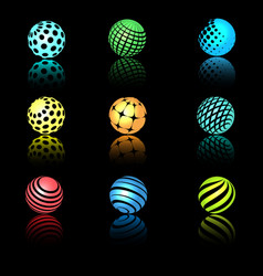 sphere 3d objects with texture vector image vector image