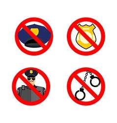 Stop cop set icon It is forbidden by police vector image