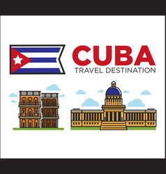 cuba travel famous landmarks and sightseeing vector image vector image
