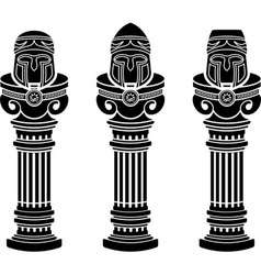 pedestals of medieval helmets vector image vector image