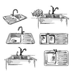 Set of kitchen sinks vector image vector image