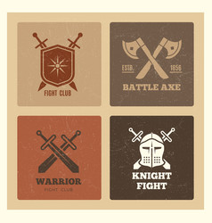 vintage warrior sword and shield labels vector image