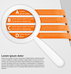 Abstract ribbons infographic with a magnifying vector image