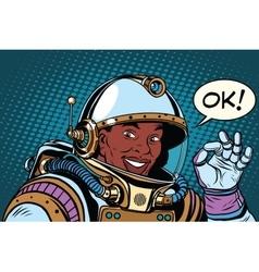 African American astronaut OK gesture vector