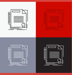 Agreement contract deal document paper icon over vector