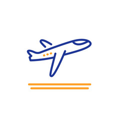 Airport departure plane line icon airplane take vector
