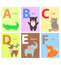 alphabet with cute cartoon animal flat set vector image