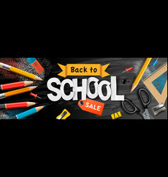 back to school sale horizontal banner pencils and vector image