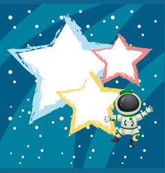 background template with astronaunt flying vector image