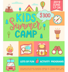 Banner for the kids summer camp vector