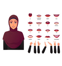 Beautiful muslim woman mouth animation and lip vector