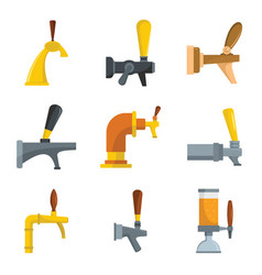 beer tap icons set flat style vector image