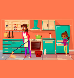 black housewife cleaning kitchen vector image