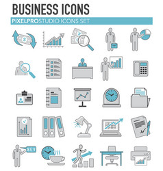Business icons set bleu grey on white background vector