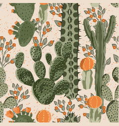 cacti seamless and flowers vector image