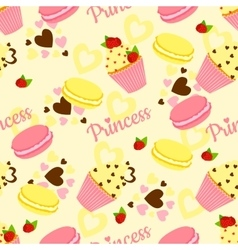 Candy princess pattern with cupcake and heart vector