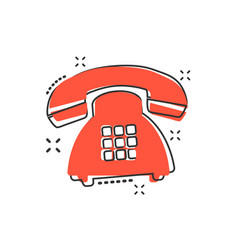 cartoon phone icon in comic style telephone sign vector image