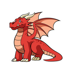 cartoon red dragon in smiling face vector image