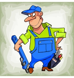 Cartoon smiling man plumber in a uniform vector