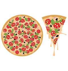 cartoon tasty pizza vector image