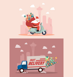christmas delivery service truck and motorbike vector image