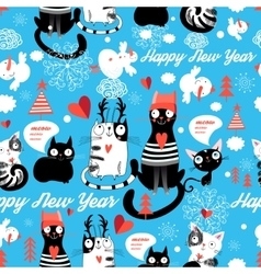 Christmas pattern with cheerful cats vector