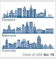 cities usa - cleveland baltimore cincinnati vector image