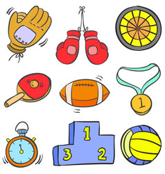 Collection stock sport equipment doodles vector