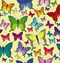 Colorful butterflies seamless background vector image