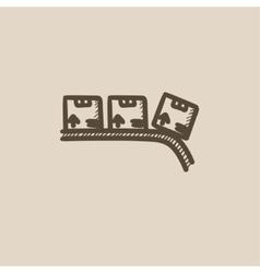 Conveyor belt for parcels sketch icon vector image