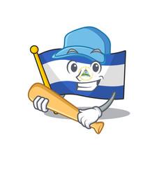 Cool flag nicaragua scroll cartoon character vector