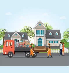 Couple moving into new house vector