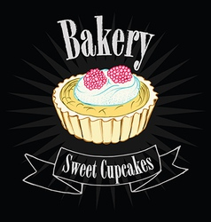 Cupcake on blackboard vector image