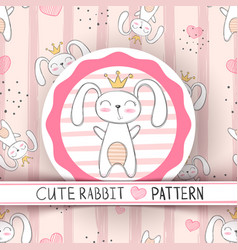 cute seamless pattern - rabbit cartoon vector image