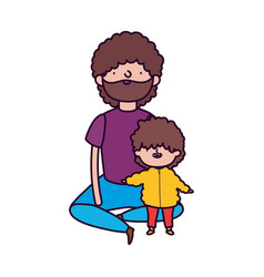 Dad and little son sitting characters vector