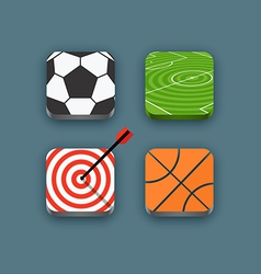 Different sports icons set with rounded corners vector image
