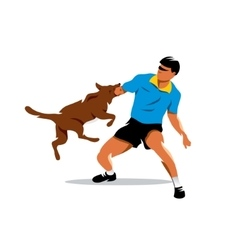 Dog training Biting dog and Man Cartoon vector image