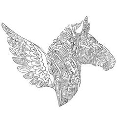 entangle stylized cartoon zebra with wings vector image