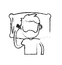 Figure man with hairstyle desing sleeping vector