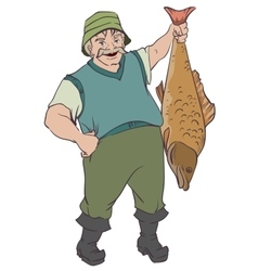 Fisherman holding big fish by tail vector image