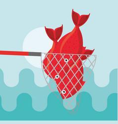 fishing fish cartoon vector image