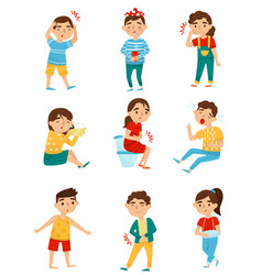 flat set of sick children little boys and vector image
