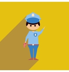 Flat web icon with long shadow police officer vector