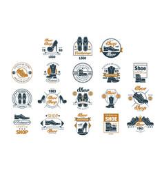 footwear store logo set shoe style premium vector image