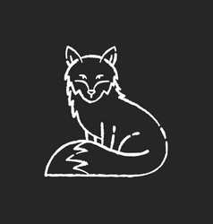 fox chalk white icon on black background vector image